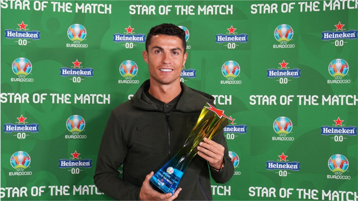 Christiano Ronaldo holding a 'Star of the Match' award in front of a Heineken branded board
