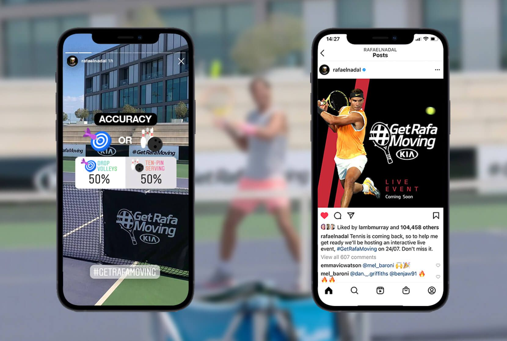 Two mobile phones show instagram posts about the #getrafamoving campaign starring Rafa Nadal