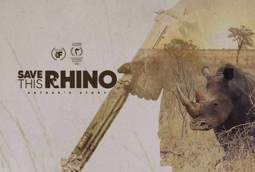 A film poster with a gun, a rhino in the wild, and the title of the film 'Save This Rhino'