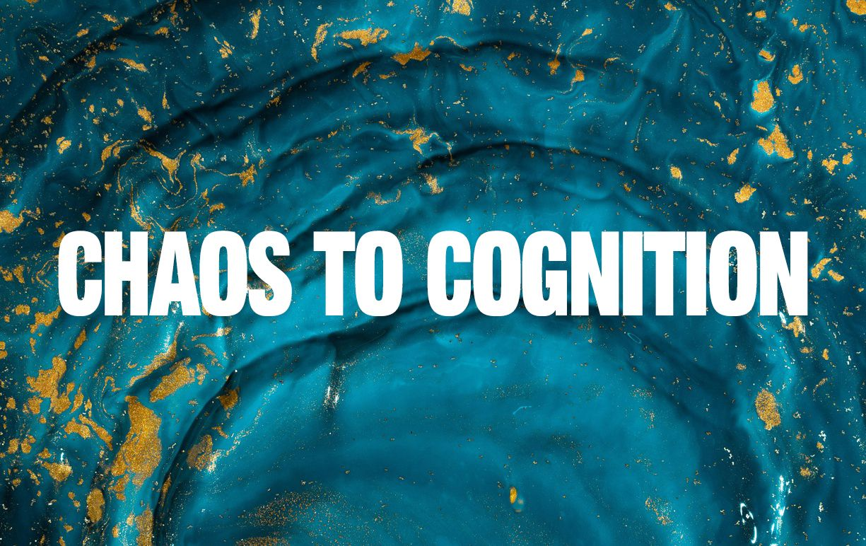 Chaos to Cognition written in white on an abstract image of blue waves with gold flecks