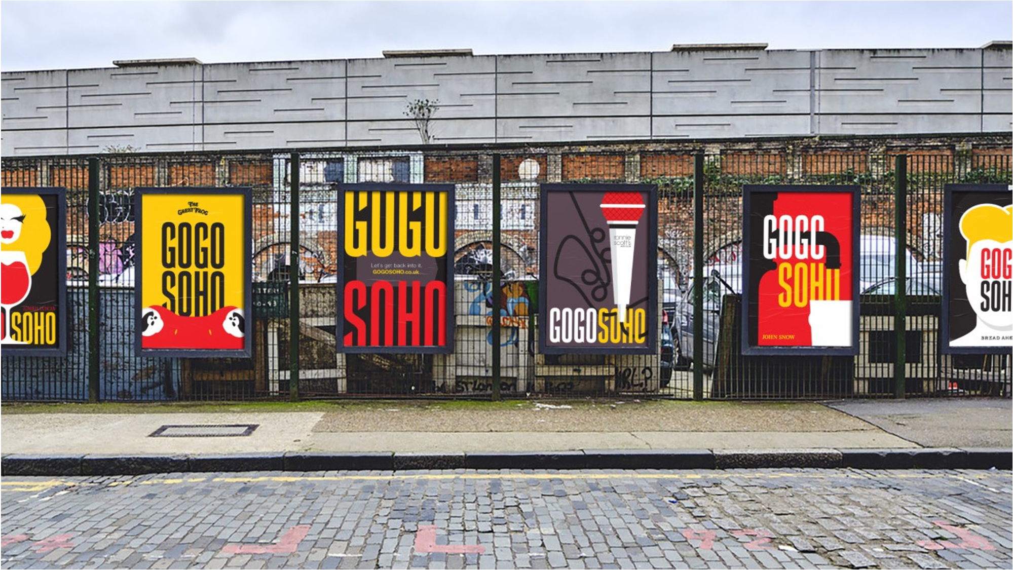 Series of 'GogoSoho' posters on a London street.